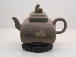 Grey clay square Yixing teapot